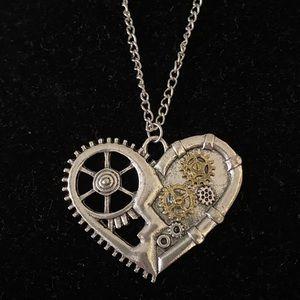 Jewelry - STEAMPUNK SILVERTONE HEART/ BRASS GEARS NECKLACE
